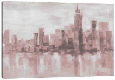 Misty Day in Manhattan Pink Gray Canvas Art Print