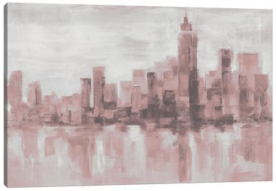 Misty Day in Manhattan Pink Gray by Silvia Vassileva Canvas Art Print