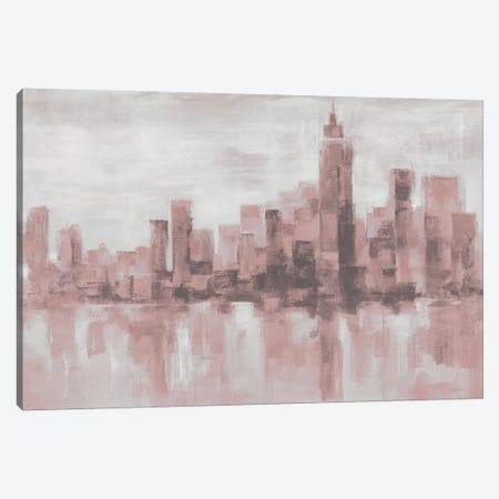 Misty Day in Manhattan Pink Gray 3-Piece Canvas #SIV26} by Silvia Vassileva Canvas Art