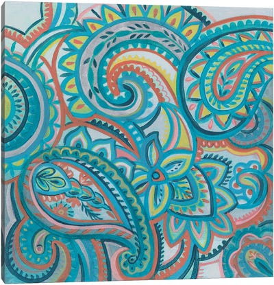 Emerald Paisley III Canvas Art Print