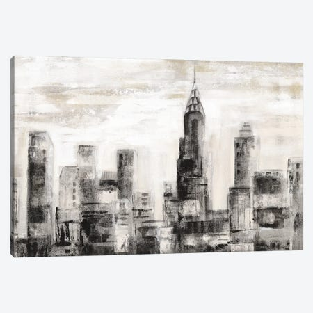 Manhattan Skyline BW Crop Canvas Print #SIV298} by Silvia Vassileva Canvas Art Print