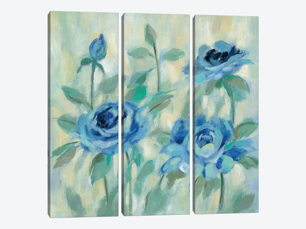 Brushy Blue Flowers II 3-piece Canvas Print
