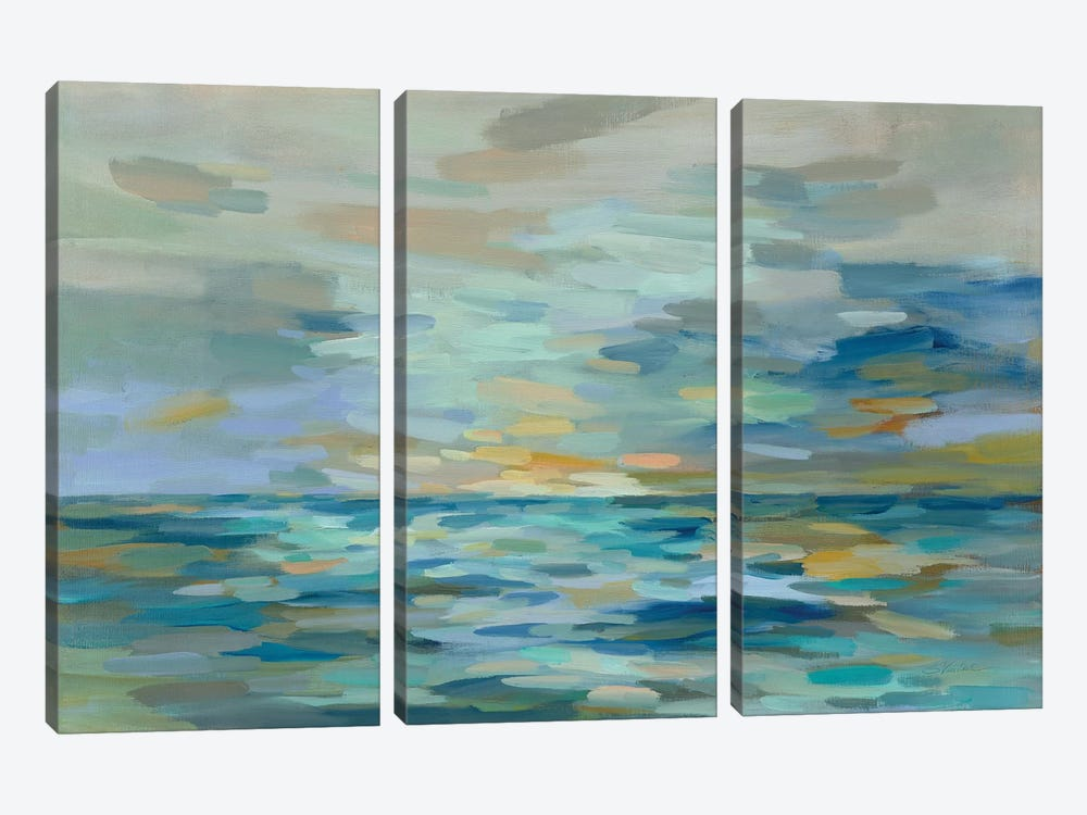 Pastel Blue Sea 3-piece Canvas Art Print