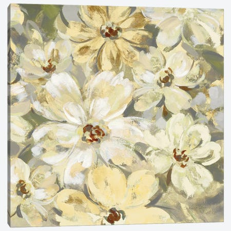 Scattered Spring Petals Neutral Gray Crop 3-Piece Canvas #SIV83} by Silvia Vassileva Canvas Print