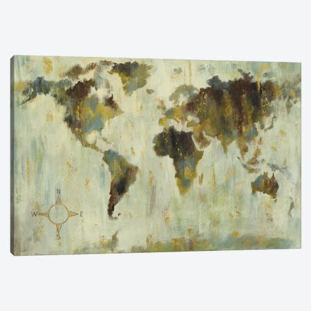Bronze World Map Canvas Print #SIV88} by Silvia Vassileva Canvas Print