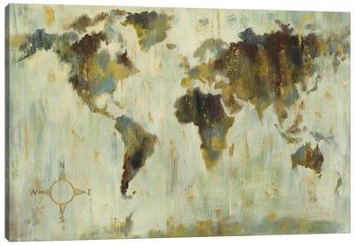 Bronze World Map Canvas Art Print