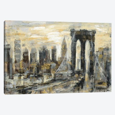 Brooklyn Bridge Gray and Gold Canvas Print #SIV8} by Silvia Vassileva Canvas Artwork