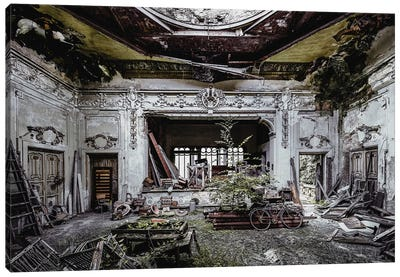 Decay And Details In A Derelict Theatre Canvas Art Print