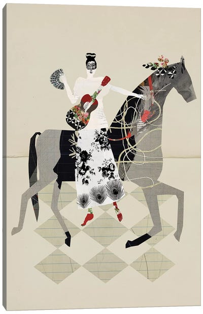 Just My Horse And My Red Guitar Canvas Art Print