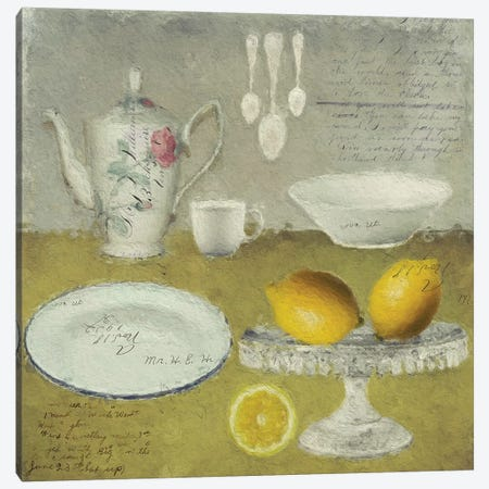 Lemons Canvas Print #SJR39} by Sarah Jarrett Canvas Wall Art