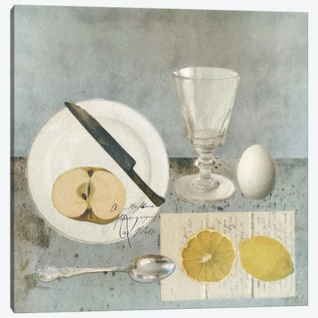 Still Life With Lemon Canvas Print #SJR57} by Sarah Jarrett Art Print