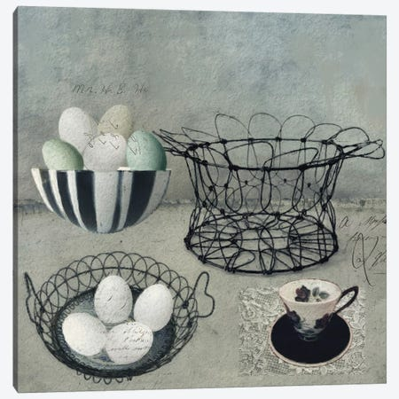 Vintage Egg Basket 3-Piece Canvas #SJR75} by Sarah Jarrett Art Print