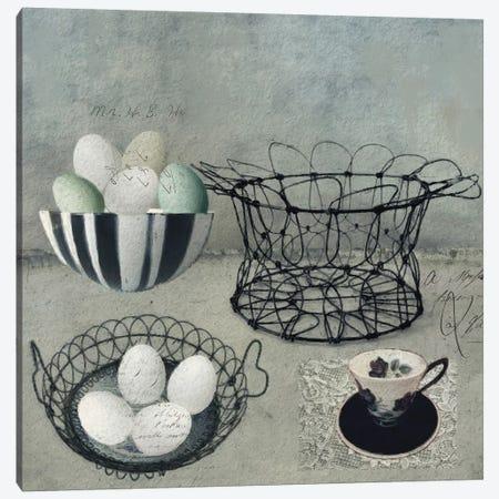 Vintage Egg Basket Canvas Print #SJR75} by Sarah Jarrett Art Print