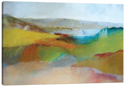 Green, Yellow And Rose Landscape Canvas Art Print