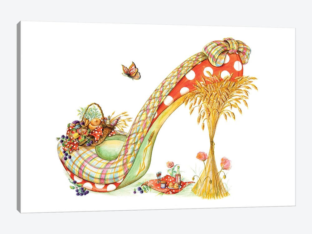 Harvest Shoe by Sally King Design 1-piece Canvas Print