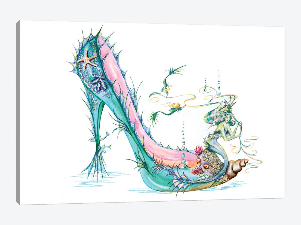 Mermaid Slipper by Sally King Design 1-piece Canvas Wall Art