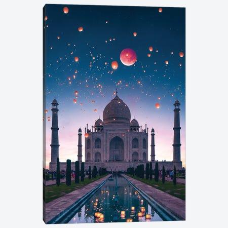 Blood Moon Taj Canvas Print #SKM39} by Shubham Kumar Rana Canvas Art