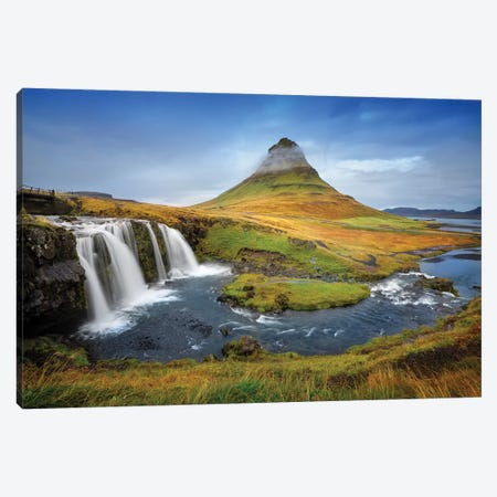 Kirkjufell Waterfall I Canvas Print #SKR123} by Susanne Kremer Canvas Art