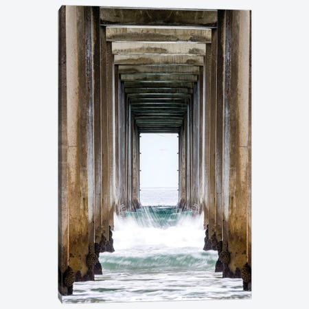 La Jolla Sropps Beach Pier  Canvas Print #SKR126} by Susanne Kremer Canvas Print