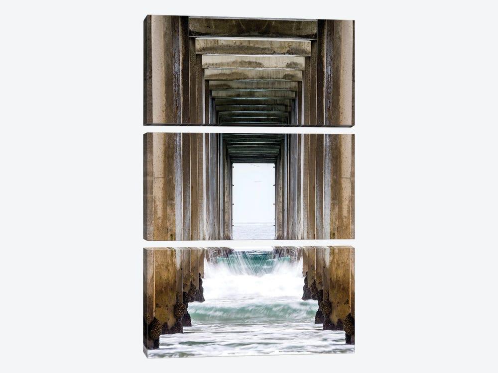 La Jolla Sropps Beach Pier  by Susanne Kremer 3-piece Canvas Artwork