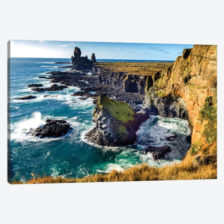 Londrangar Bird Rock Basalt Cliffs Canvas Print #SKR128} by Susanne Kremer Canvas Wall Art
