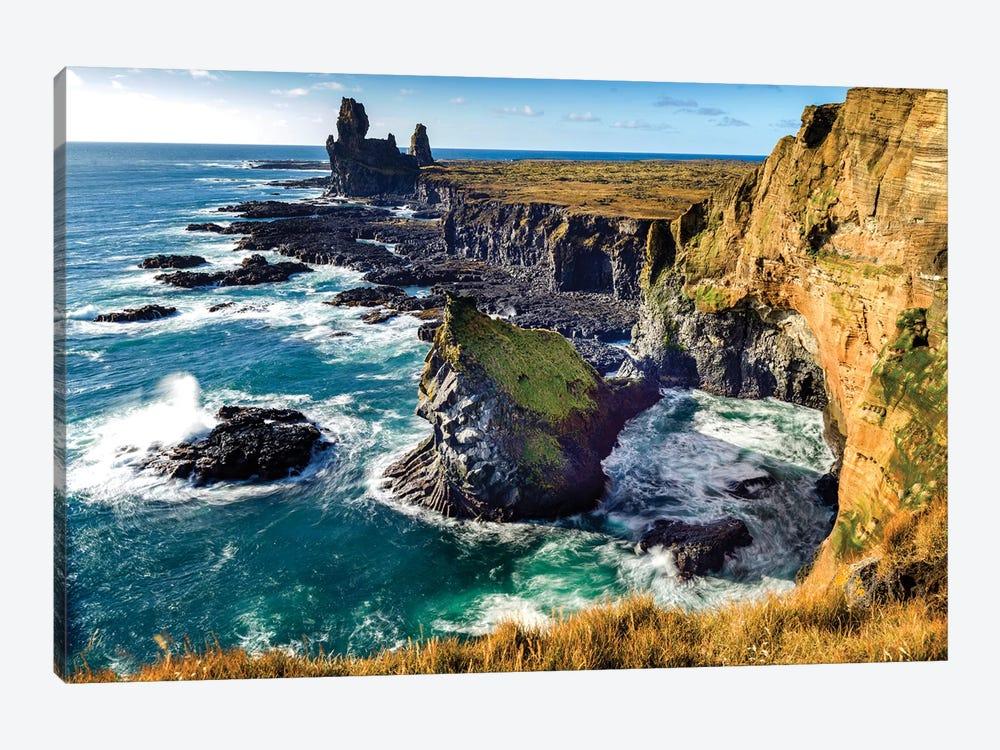Londrangar Bird Rock Basalt Cliffs by Susanne Kremer 1-piece Canvas Artwork