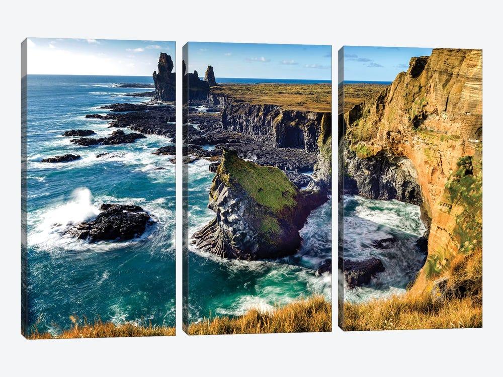 Londrangar Bird Rock Basalt Cliffs by Susanne Kremer 3-piece Canvas Wall Art
