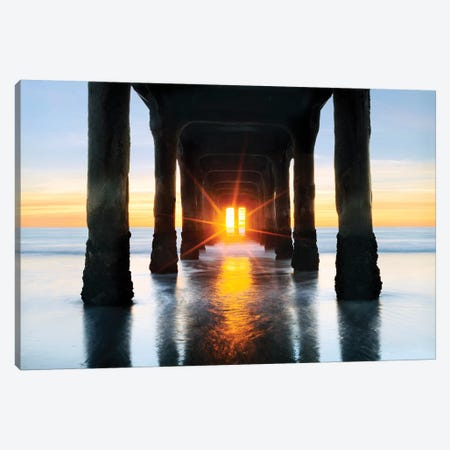 Manhattan Beach  Pier Canvas Print #SKR132} by Susanne Kremer Canvas Art Print