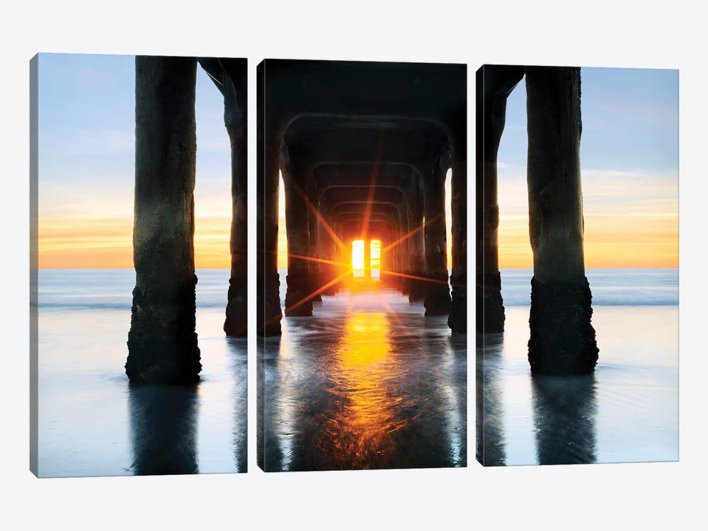 Manhattan Beach  Pier by Susanne Kremer 3-piece Art Print