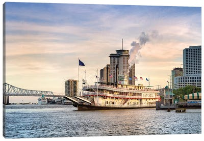 Natchez Steamboat Mississippi River Sunset  Canvas Art Print