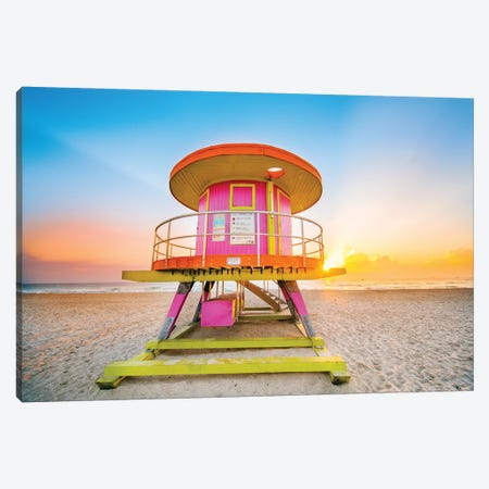Ocean Drive Lifeguard House South Beach I Canvas Print #SKR151} by Susanne Kremer Canvas Print