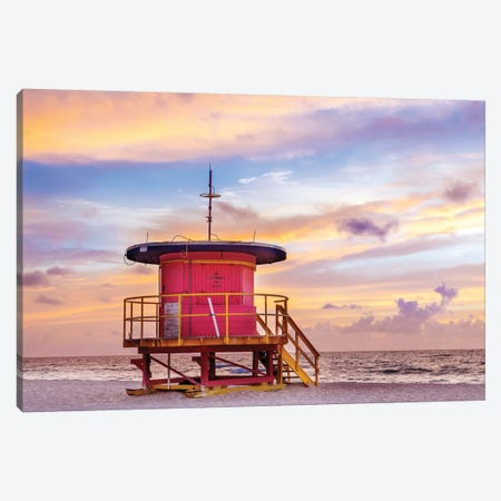 Ocean Drive Lifeguard House South Beach II Canvas Print #SKR152} by Susanne Kremer Canvas Art Print