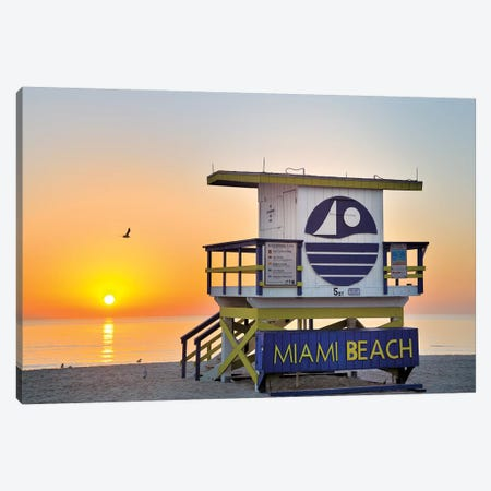 Ocean Drive Lifeguard House South Beach V Canvas Print #SKR155} by Susanne Kremer Canvas Wall Art