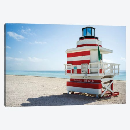 Ocean Drive Lifeguard House South Beach VIII Canvas Print #SKR158} by Susanne Kremer Art Print