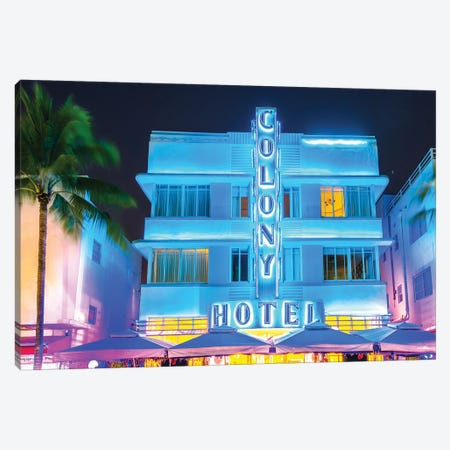 Ocean Drive, Colony Hotel I Canvas Print #SKR159} by Susanne Kremer Canvas Art Print