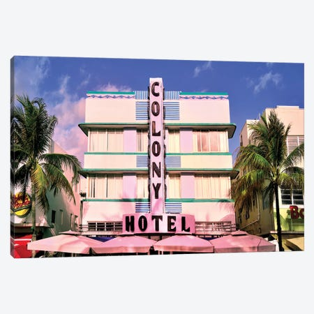 Ocean Drive, Colony Hotel II Canvas Print #SKR160} by Susanne Kremer Canvas Wall Art