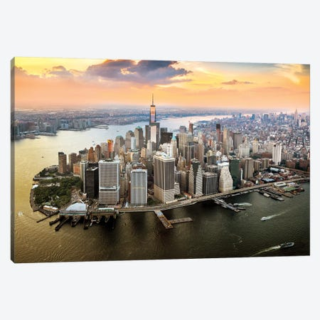 One World Trade Center Sunset Aerial  Canvas Print #SKR164} by Susanne Kremer Canvas Print