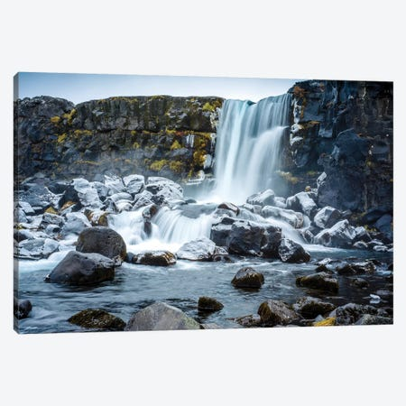 Oxararfoss Waterfal Golden CVircle  Canvas Print #SKR165} by Susanne Kremer Canvas Art Print