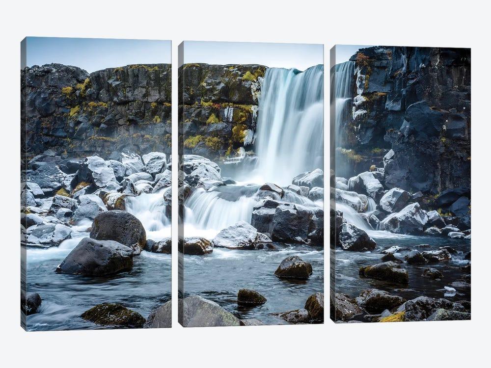 Oxararfoss Waterfal Golden CVircle  by Susanne Kremer 3-piece Canvas Art Print