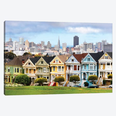 Painted Ladies, Transamerica Pyramid with Skyline II Canvas Print #SKR167} by Susanne Kremer Canvas Print