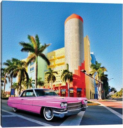 Pink Cadillac Miami Art District II Canvas Art Print