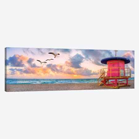 Pink Lifeguard house at sunrise  Canvas Print #SKR176} by Susanne Kremer Canvas Artwork
