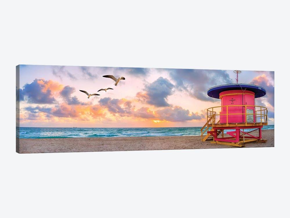 Pink Lifeguard house at sunrise  by Susanne Kremer 1-piece Canvas Print
