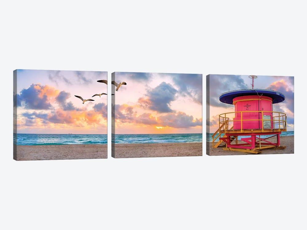 Pink Lifeguard house at sunrise  by Susanne Kremer 3-piece Canvas Art Print