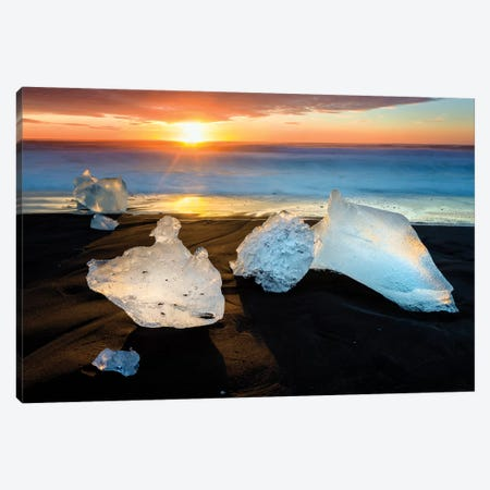 Blocks of Ice, Diamond Beach II Canvas Print #SKR17} by Susanne Kremer Canvas Wall Art