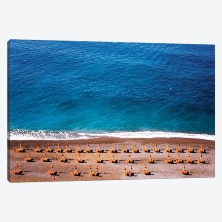 Positano Beach With Umbrellas And Chairs Canvas Print #SKR182} by Susanne Kremer Canvas Artwork