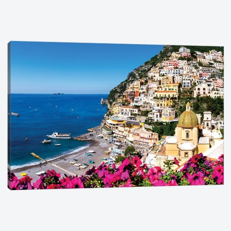 Positano Beach and Church Santa Maria  Canvas Print #SKR183} by Susanne Kremer Canvas Artwork