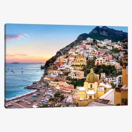 Positano, Church Santa Maria Assunta I Canvas Print #SKR184} by Susanne Kremer Canvas Art Print