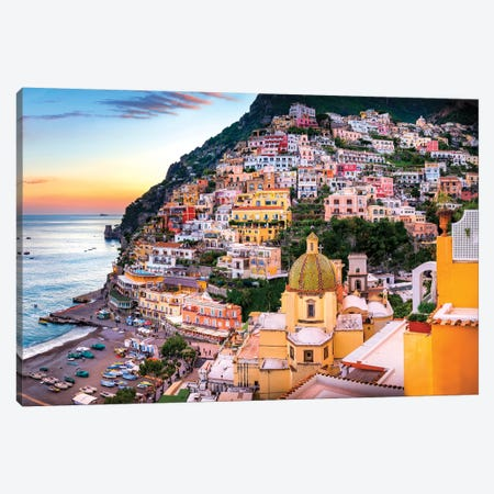 Positano, Church Santa Maria Assunta II Canvas Print #SKR185} by Susanne Kremer Canvas Print