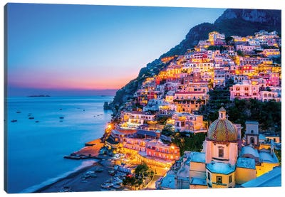 Positano, Church Santa Maria Assunta Sunset  Canvas Art Print